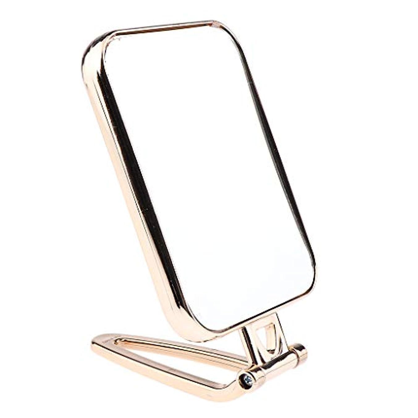 拍手インレイ優先権F Fityle メイクアップミラー 折りたたみ ポータブル 洗面台 卓上 旅行 コンパクトミラー 2タイプ選べ - ゴールド