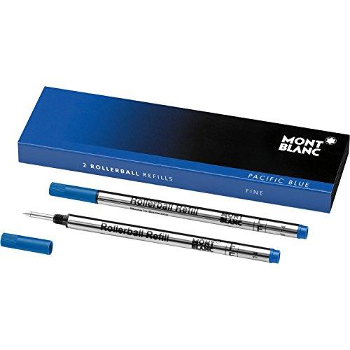 MONTBLANC モンブラン ローラーボール リフィル F(細字) 2本セット パシフィックブルー 青 正規輸入品 MB105163