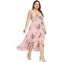 Milumia Plus Size Fit Flare Empire Waist Floral Printed Sleeveless Dress V Neck Sundress
