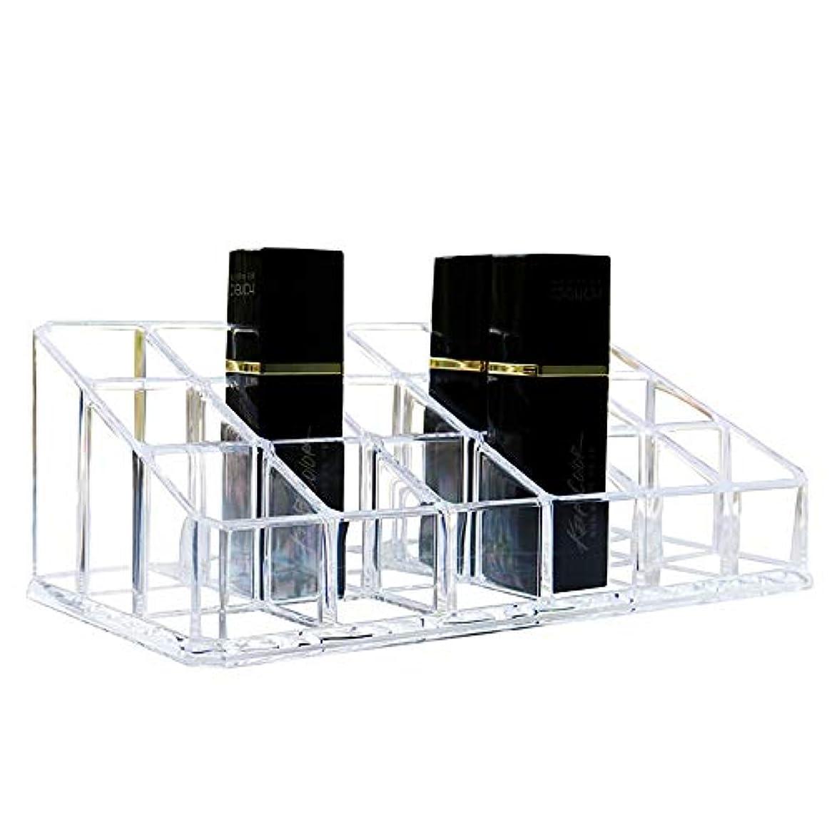 テレマコス偽装するエトナ山整理簡単 シンプルな口紅収納クリア18コンパートメント化粧口紅化粧品ディスプレイスタンドラックホルダーオーガナイザー (Color : Clear, Size : 17.4*9*6.3CM)