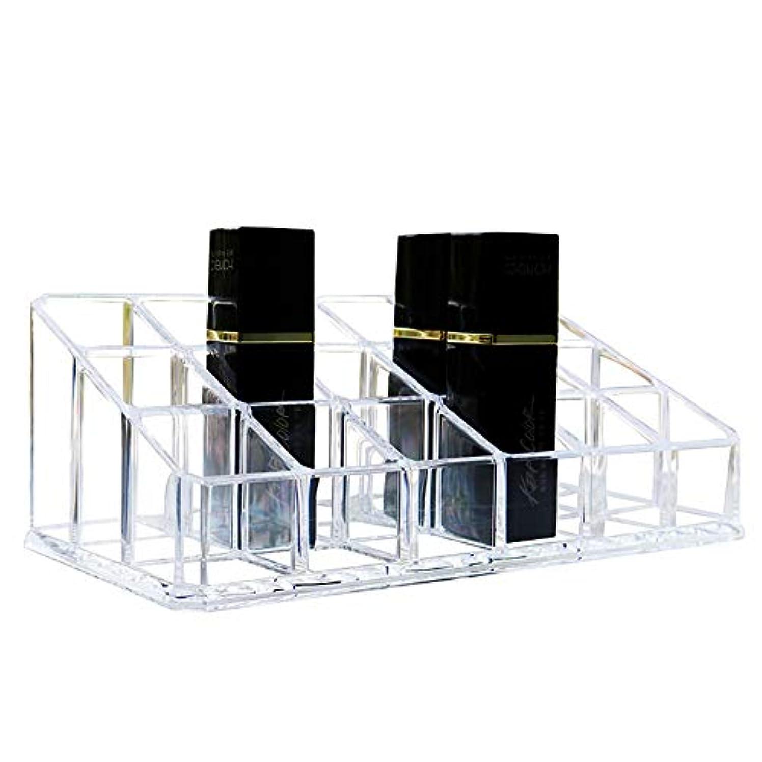 失速の間に好きである整理簡単 シンプルな口紅収納クリア18コンパートメント化粧口紅化粧品ディスプレイスタンドラックホルダーオーガナイザー (Color : Clear, Size : 17.4*9*6.3CM)