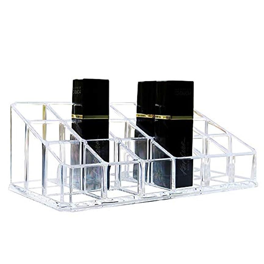 焦げ即席平行整理簡単 シンプルな口紅収納クリア18コンパートメント化粧口紅化粧品ディスプレイスタンドラックホルダーオーガナイザー (Color : Clear, Size : 17.4*9*6.3CM)