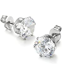 Bullidea 1 Pair 5mm Stainless Steel Round Cubic Zirconia Inlaid Stud Earrings Mens Womens