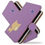 KEIO ケイオー isai LGL22 カバー 手帳型ケース 猫 LGL 22 手帳 ねこ柄 isai LGL22 ケース 手帳型 ねこ 背中 パープル イサイ ittnねこ背中パープルt0188