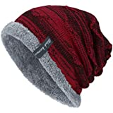 Healifty Winter Knit Beanie Slouchy Warm Thick Plush Skullies for Outdoors
