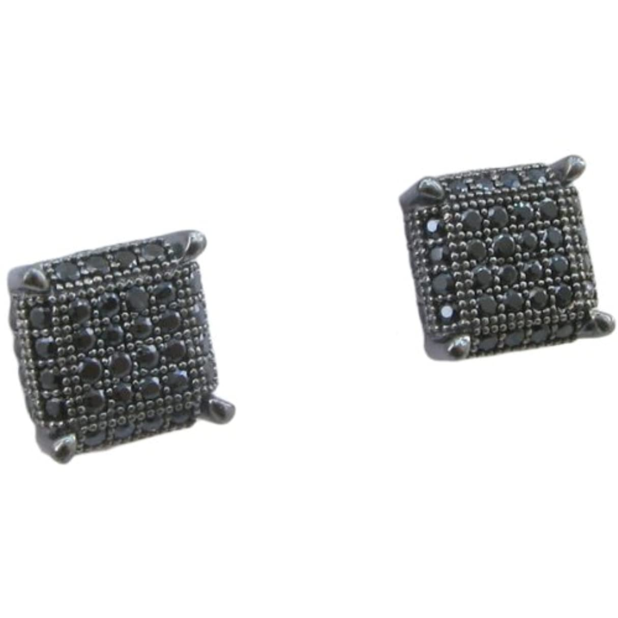 リーフレット負荷溶融メンズ925スターリングシルバーブラック8行正方形イヤリングmlcz78 4 mm厚8 mm幅、サイズ
