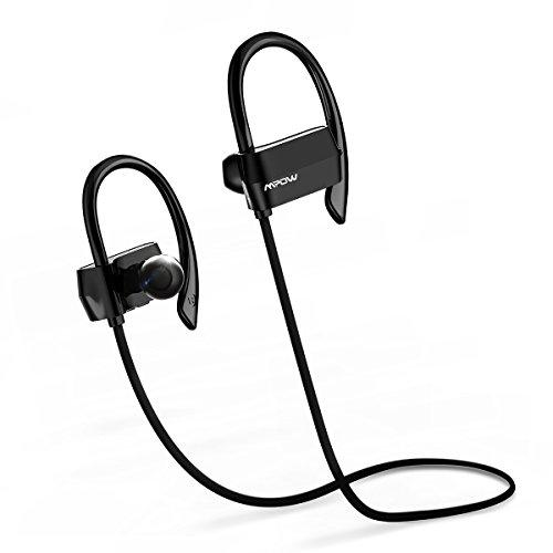 Mpow Bluetooth4.1イヤホン HD高音質 ハンズフリー通話 省電力 防汗防滴軽量 はずれ防止 フック付け スポーツ ワイヤレス イヤホン iPhone&Android 対応 (ブラック)【技適認証済み】【18ケ月の保証】 MP-BH042AB