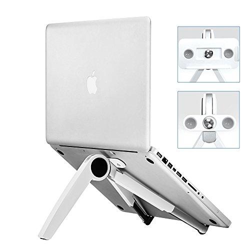 ノートパソコンスタンド タブレットスタンド スマホスタンド ラップトップスタンド PCスタンド 折りたたみ式 六段階角度 180度調整 アルミニウム製 コンパクト収納 持ち運び便利 吸盤付き 肩ごり腰痛の解消 17インチまでノートパソコン置き iPad Pro 12.9/APPLE MAC BOOK/Kindle/IPHONE/ASUS/GALAXY/ZENFONEなどに対応(ホワイト)