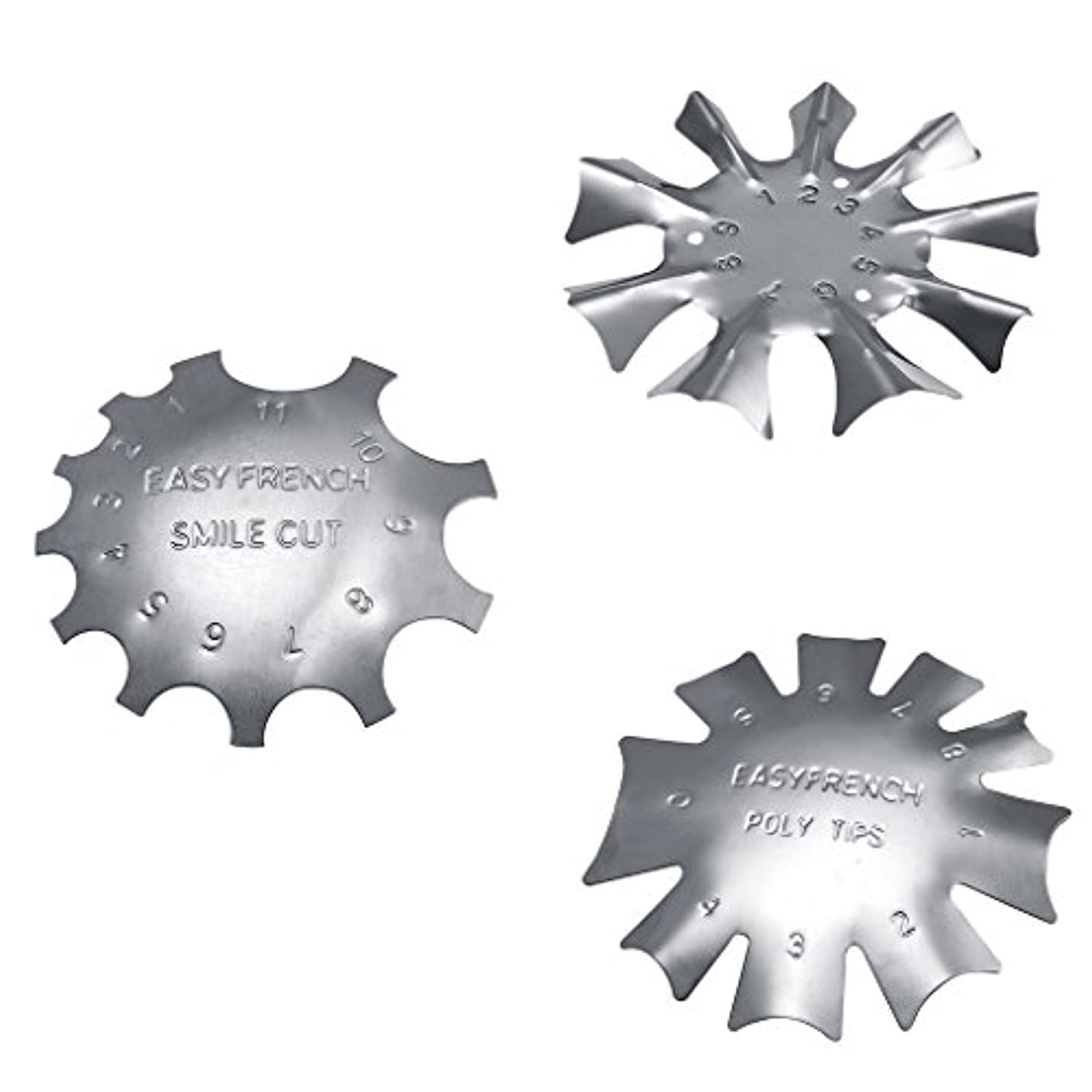 手段既に費用Perfk フランス風 ネイルガイドツール 3タイプセット ネイルアート カットライントリマー 金属 ネイルテンプレート