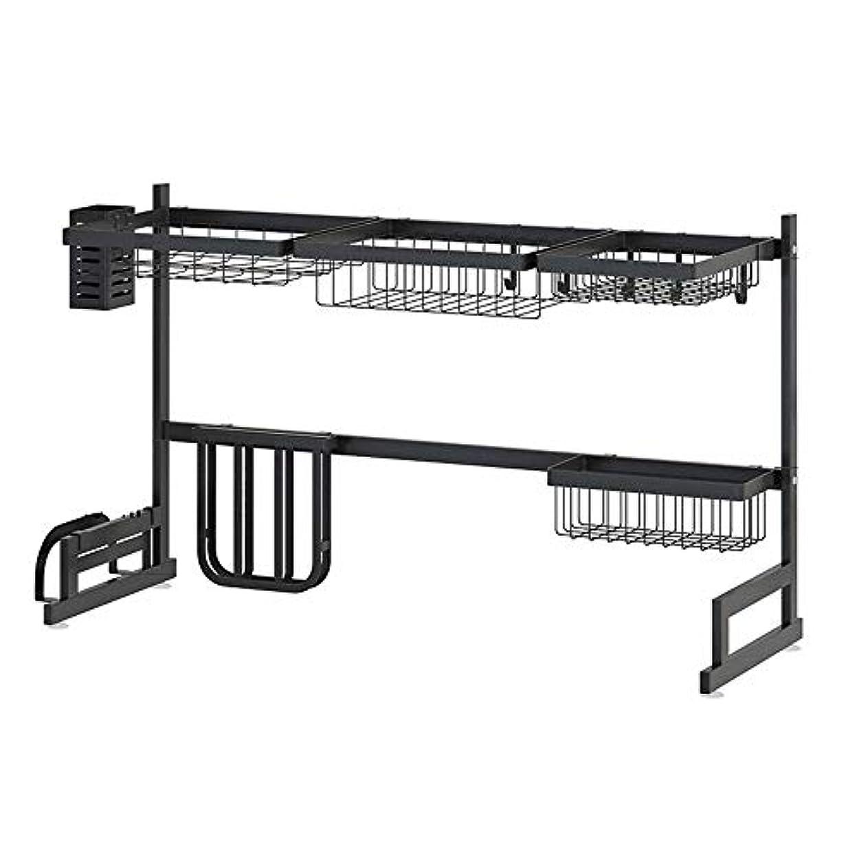 バースト文字通りカーテン201ステンレススチール製収納ラック、滑り止め、キッチンラック、黒、金属、キッチン用品、耐荷重性、防湿性、耐腐食性、4フック付き、85 cm