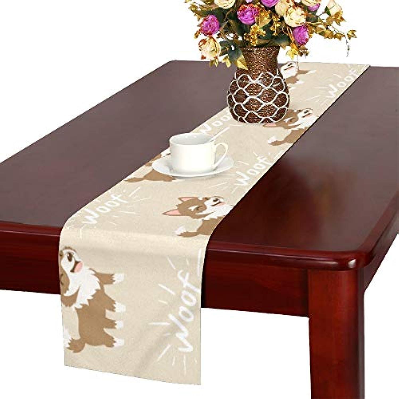 GGSXD テーブルランナー すばしこい ハスキー クロス 食卓カバー 麻綿製 欧米 おしゃれ 16 Inch X 72 Inch (40cm X 182cm) キッチン ダイニング ホーム デコレーション モダン リビング 洗える