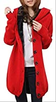 レディース ニット コート アウター ジャケット 秋 冬 ロング 丈 ストレッチ フード 付 編み込み 裏起毛 5カラー (レッド)
