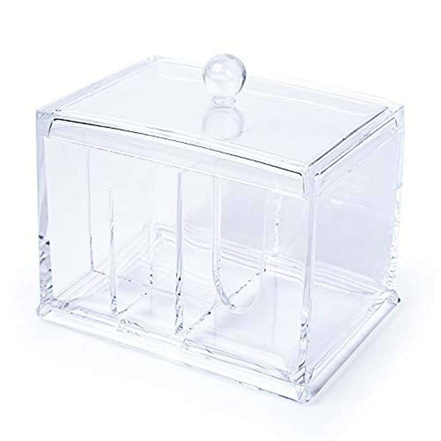 コイル強制存在するELOKI 収納ボックス アクリルケース 収納ボックス 綿棒 小物?コスメ小物用品収納 ジュエリーボックス アクセサリー 透明 防塵?蓋付き アクリル製
