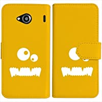 sslink V03 URBANO 手帳型 イエロー ケース モンスター(ホワイト) ダイアリータイプ 横開き カード収納 フリップ カバー