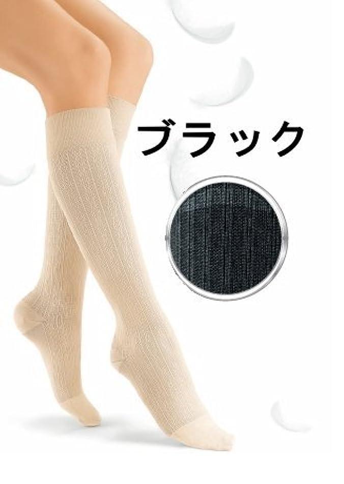 平らな日帰り旅行に乙女ジョブストsoソフト30 ブラック/リブ柄 ハイソックスL
