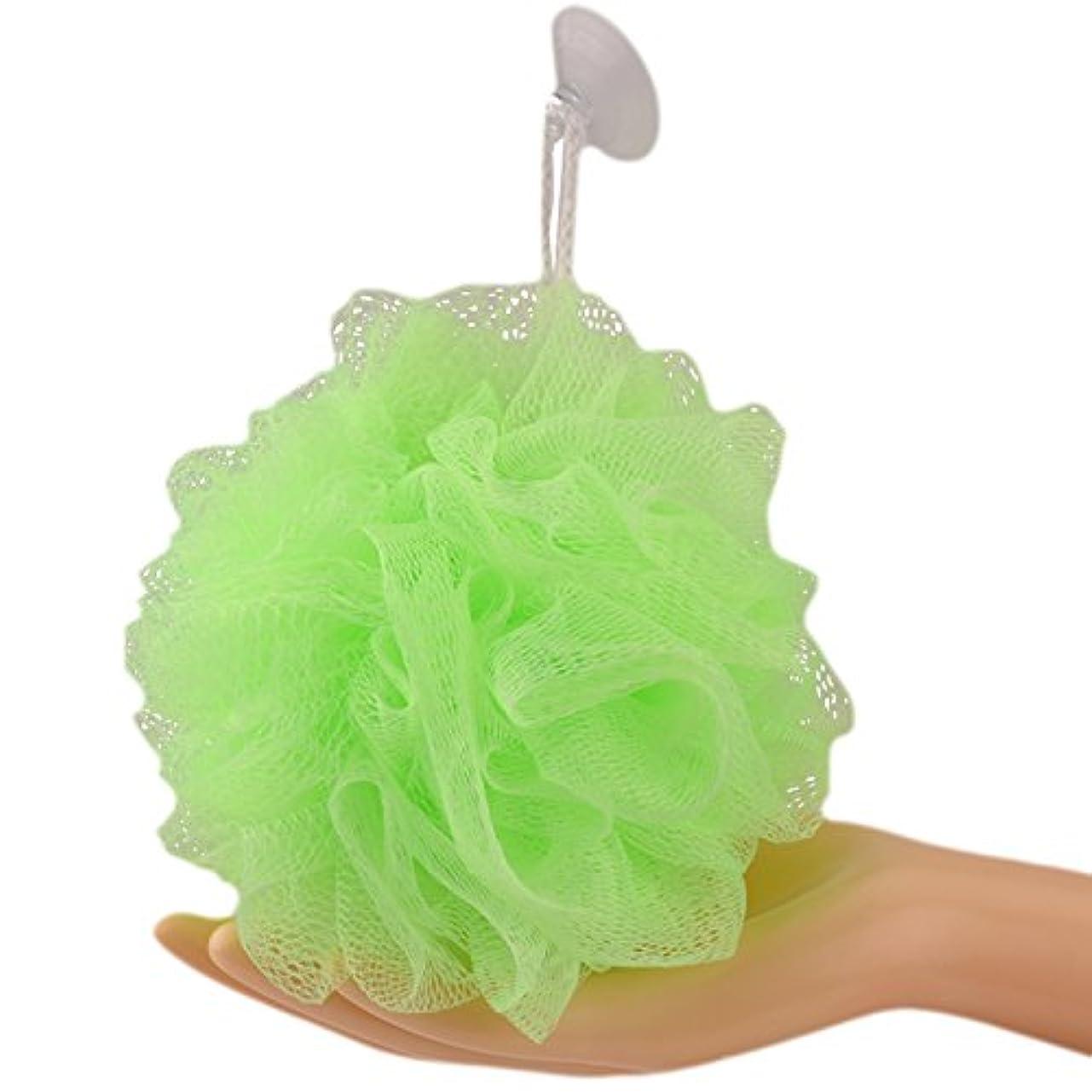 仮称鉄道駅窓一枚入 耐久性のボディウォッシュボール崩れない 長持ち、沐浴球全6色フラワーボール泡立てネット ボディ、花ボディースポンジ (Large 60g, グリーン)