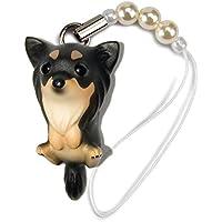 ペットラバーズ 犬種 Dog 92 Chihuahua ロングコートチワワ ブラッククリーム ビーズ ストラップ DN-2003