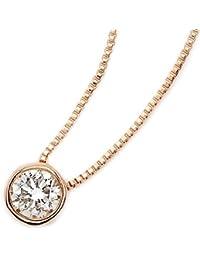 宝石の森 ダイヤモンド ネックレス 一粒 0.15ct K18 ピンクゴールド Nudie Heart Plus 人気の覆輪留