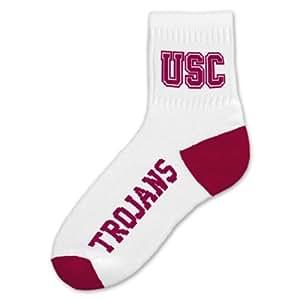 NCAA USC TrojansメンズQuarterソックス、ホワイト L ホワイト