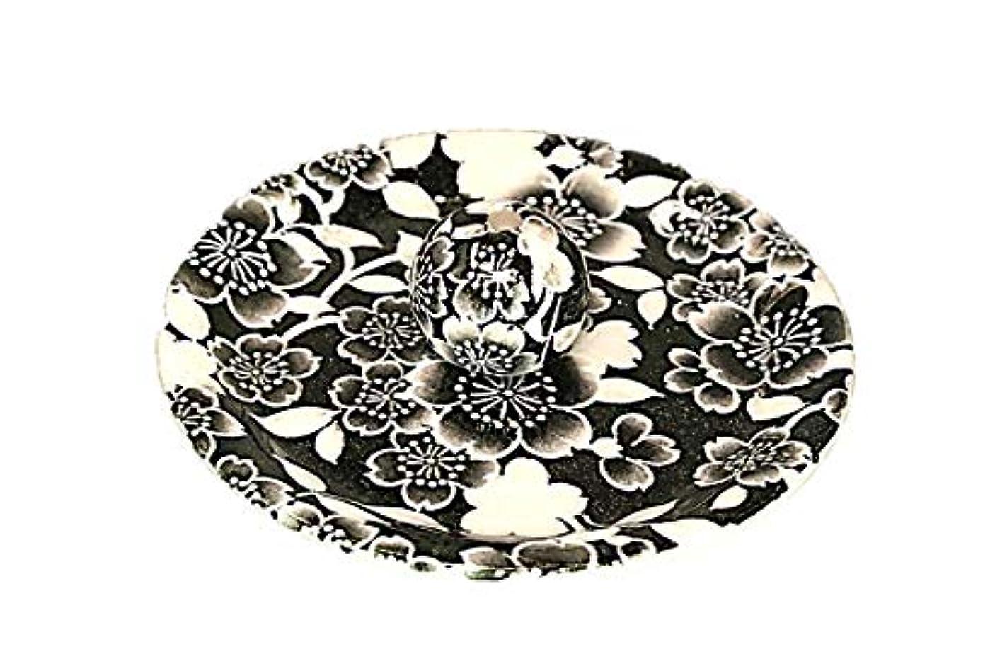 9-35 桜友禅 黒 9cm香皿 お香立て お香たて 陶器 日本製 製造?直売品