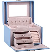 Black White Girls Jewellery Gift Box Rings Necklace Storage Organizer Lockable 44 (Blue)