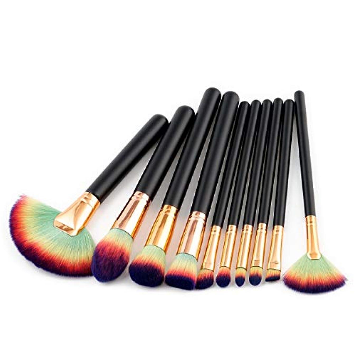 キャラバン記述する著者CHANGYUXINTAI-HUAZHUANGSHUA 美容ツール10ブラシガールハート化粧ブラシルースパウダーブラシ赤面 (Color : Green Black)
