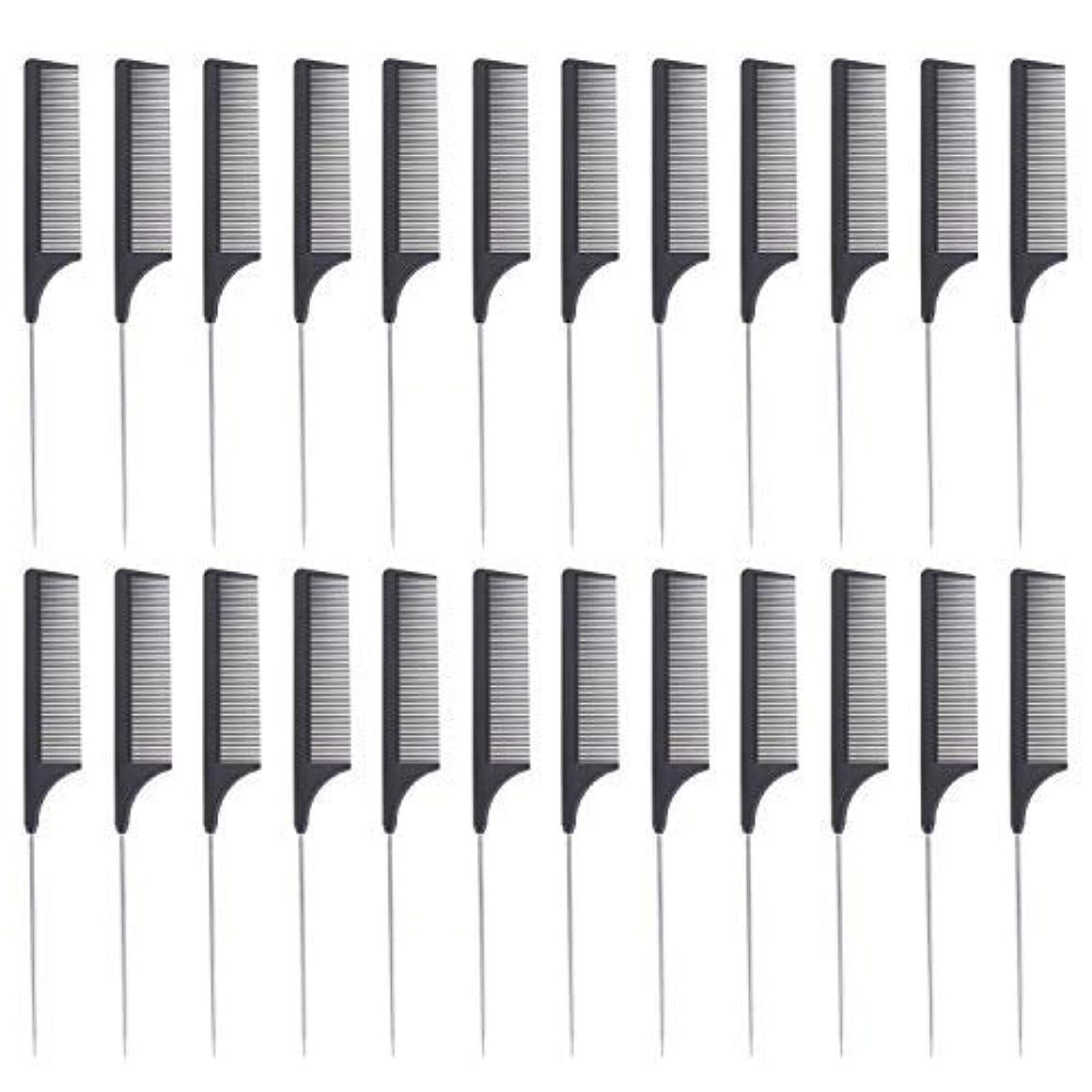 火山例外ネット24 Pieces Comb Black Tail Styling Comb Chemical Heat Resistant Teasing Comb Carbon Fiber Hair Styling Combs for...