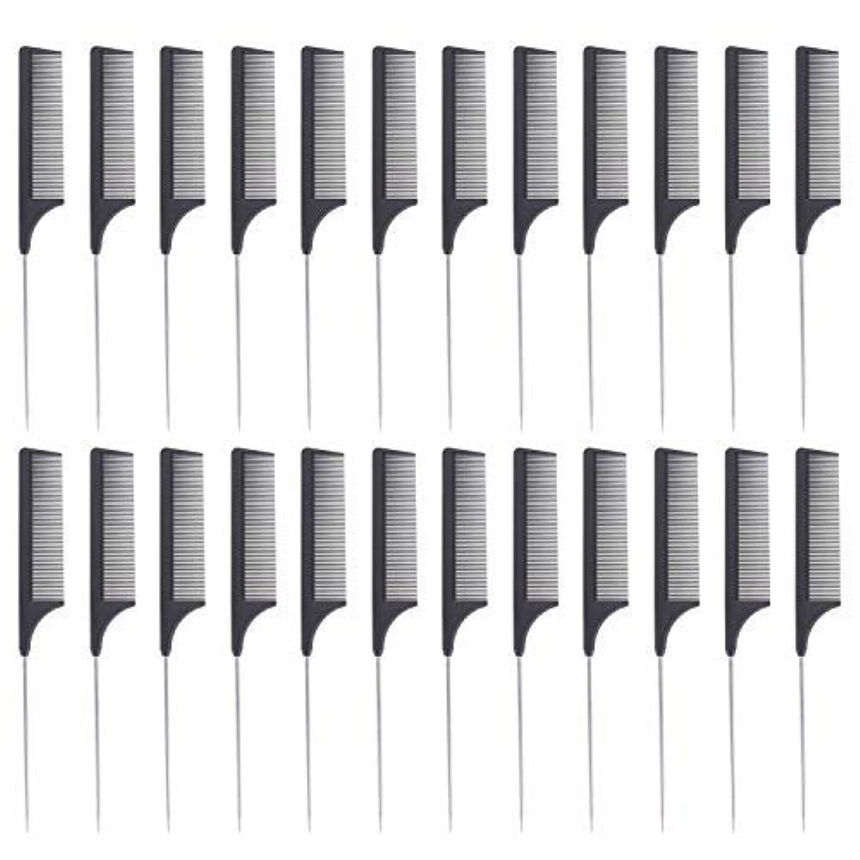 粒職人展示会24 Pieces Comb Black Tail Styling Comb Chemical Heat Resistant Teasing Comb Carbon Fiber Hair Styling Combs for...