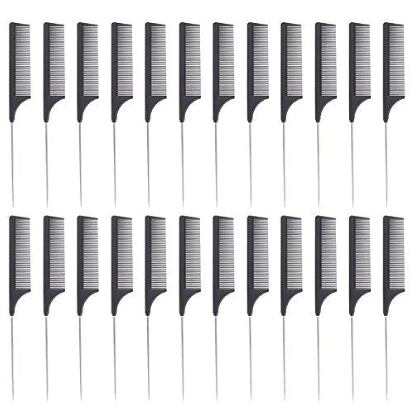 水っぽい病院ルビー24 Pieces Comb Black Tail Styling Comb Chemical Heat Resistant Teasing Comb Carbon Fiber Hair Styling Combs for...