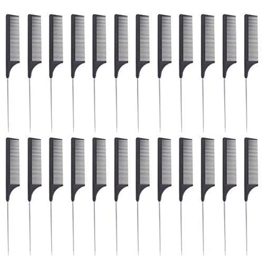 紫の図書館グローバル24 Pieces Comb Black Tail Styling Comb Chemical Heat Resistant Teasing Comb Carbon Fiber Hair Styling Combs for...