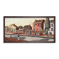 Chappel New York Tea Party Painting Framed Wall Art Print Long 25X12 Inch ニューヨークパーティーペインティング壁
