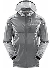 tbmpoyメンズクイックドライスキンコートフード付き軽量UPF 50 +太陽保護ポータブルジャケット