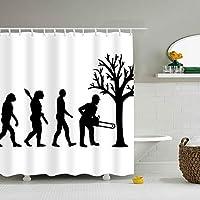 Evolutionary Lumberjack幅180*180CM高 プリント お風呂シャワーカーテン プラス厚 浴室 洗面所等間仕切り 目隠し用