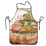 シンプルエプロン カフェ 鮭の照り焼き魚肉保育士 メンズ 作業用 ガーデンエプロン 調節可能 べーシックエプロン 料理 防水 男女兼用