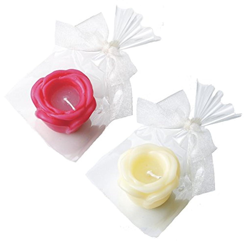 メディア是正寄付するカメヤマキャンドルハウス プチラビアンローズキャンドル 1個入 ローズの香り アイボリー×1 ローズピンク×1 セット