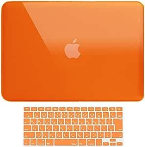 MS factory MacBook Pro 15 ケース カバー + 日本語 キーボードカバー マックブックプロ 15インチ ハードケース Pro15 Mid 2009 ~ Mid 2012 A1286 ディスクスロット搭載 全11色 クリスタル オレンジ RMC series RMC-SETP15XOR