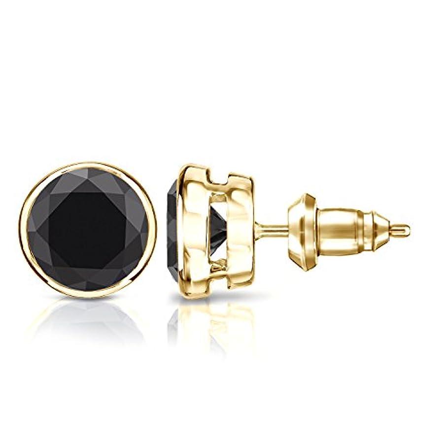 精神的にレオナルドダ習熟度14 Kゴールドbezel-setラウンドブラックメンズダイヤモンドスタッドイヤリング( 1 / 2 – 4 ct、ブラック安全ロックバック