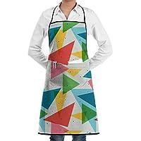 Aupron 三角形 抽象化 色つき エプロン カフェエプロン ビブエプロン キッチンエプロン 胸当て 前掛け 腰巻 H型 ロング キッチン カフェ 飲食店 保育士 男女兼用 シンプル かわいい おしゃれ 人気