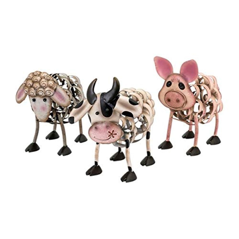 3-pcファーム動物Statuaries inマルチカラー仕上げ