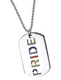 【ノーブランド品】PRIDEレター レインボー  レズビアン ゲイ プライド フラッグ LGBTペンダント ネックレス ドッグタグ 宝石