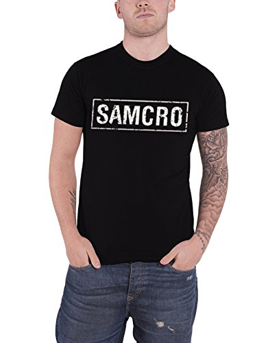 Sons of Anarchy T Shirt Distressed SAMCRO Logo Banner 公式 メンズ 新しい