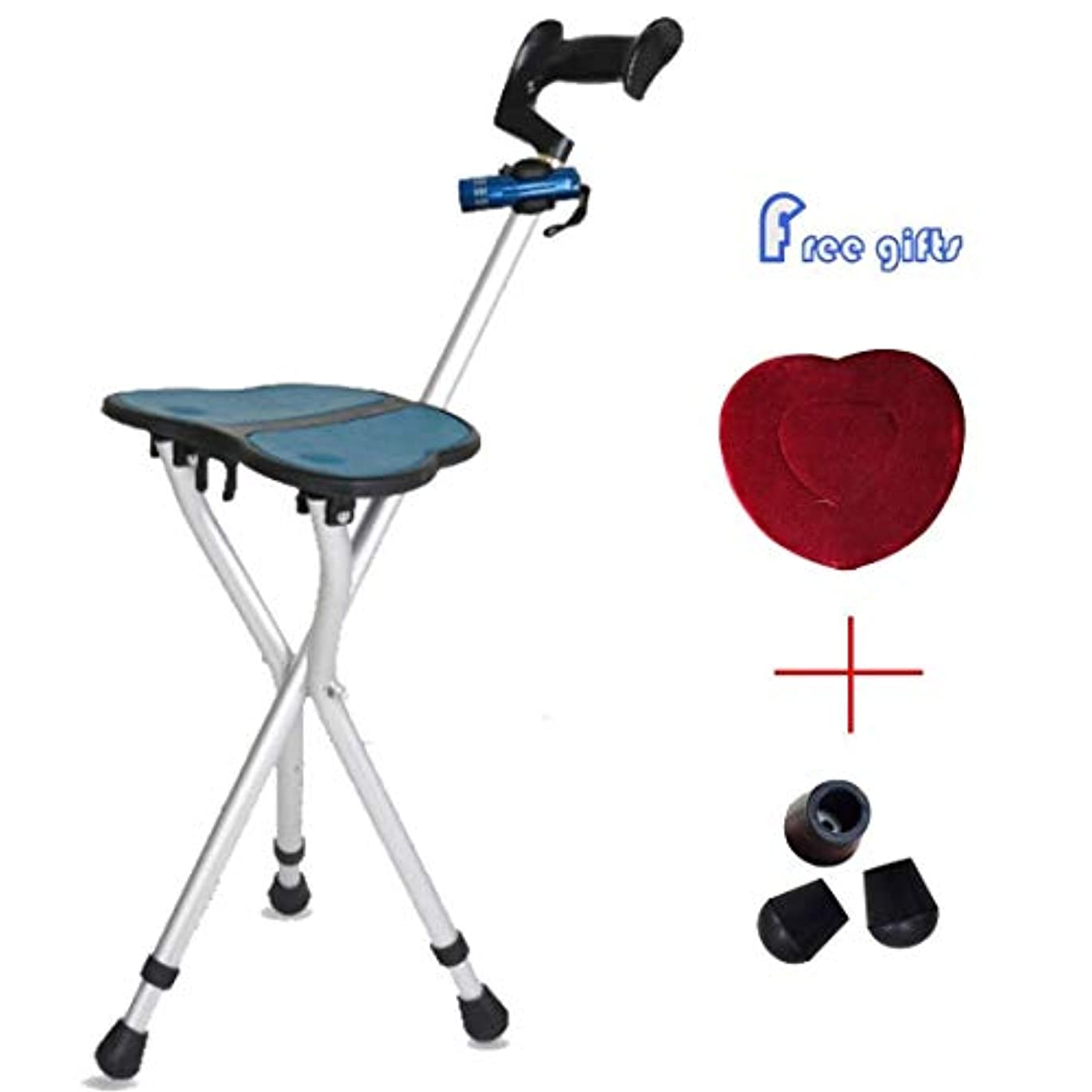 困ったマイクネイティブ障害者/アルミ合金の調節可能な杖のために適した杖アルミニウム折りたたみ杖の座席 (Color : 銀, Size : Model1)