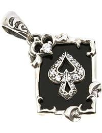 ジナブリング (JINA BRING) オニキスペンダント 剣を意味するスペード トランプカード オニキス ペンダント トップ レディース メンズ