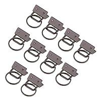 D DOLITY リング付き ベルト チップ コネクタ 10本 リボン ウェビング 圧着 エンド クリップ 全3色 - ブラック