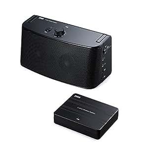 サンワダイレクト テレビスピーカー ワイヤレス TV用手元スピーカー 電池 USB給電対応 ブラック 400-SP058