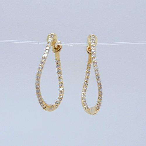 天然 ダイヤモンド 0.30ct 18金製 ゴールド (日本製 Made in Japan) (金属アレルギー対応) スタッド G型 ピアス 4月 誕生石