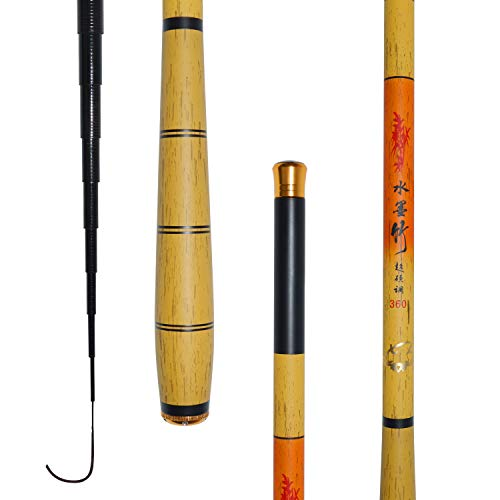 JINKING 渓流竿 ロッド 釣り竿 炭素繊維製 超軽量 超硬調 コンパクト延べ竿 小魚万能竿 3.6M