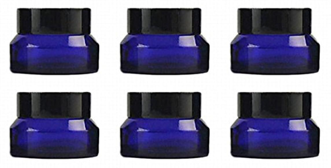 松明出口繁栄【Rurumi】ハンドクリーム 容器 遮光 ジャー 30g 6個 セット アロマ ハンド クリーム 遮光瓶 ガラス 瓶 アロマ ボトル ビン 保存 詰替え (コバルトブルー)