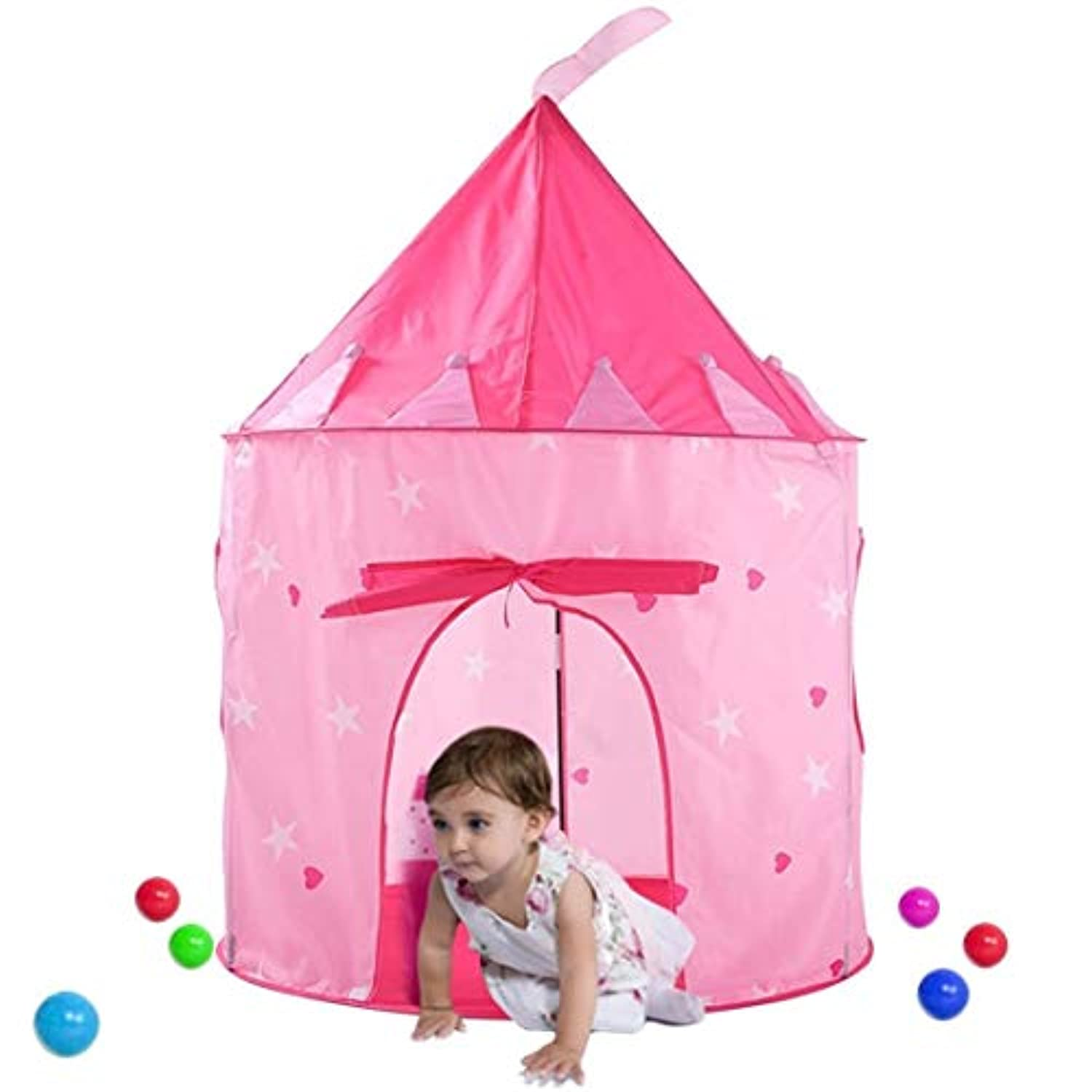 vakker Castle Play Tent Playhouse For Boys Girls Kids、インスタントPop Up、丈夫ポータブルwith Carryingバッグ ピンク 28-292