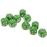 Baosity 10個 木製 サイコロ ダイス 骰子 賽子 D&D T RPG MTGゲーム用 全7色 - 緑